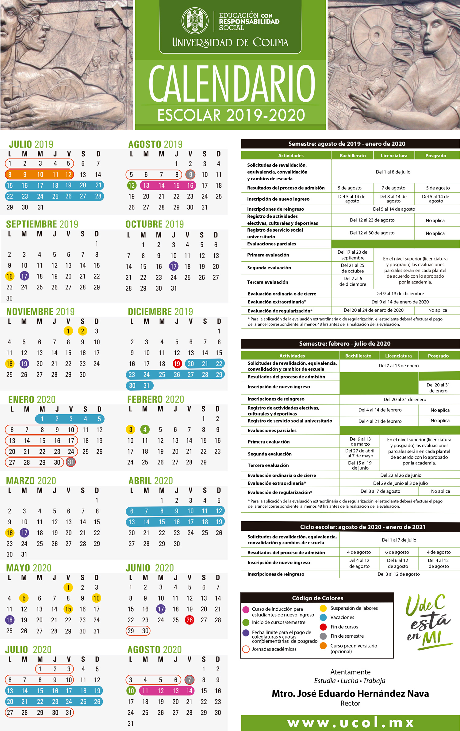 Calendario 3018.Universidad De Colima Alumnos Calendario Escolar